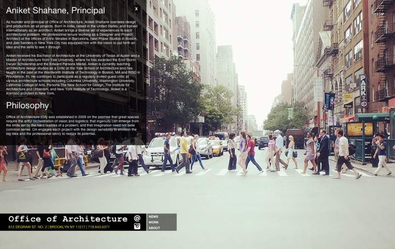 Office of Architecture - New York Screencapture of website