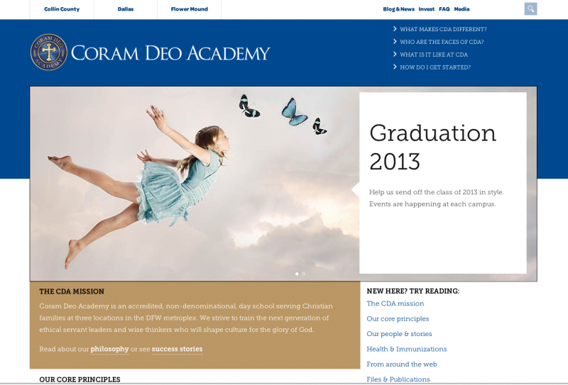 Coram Deo website screen capture