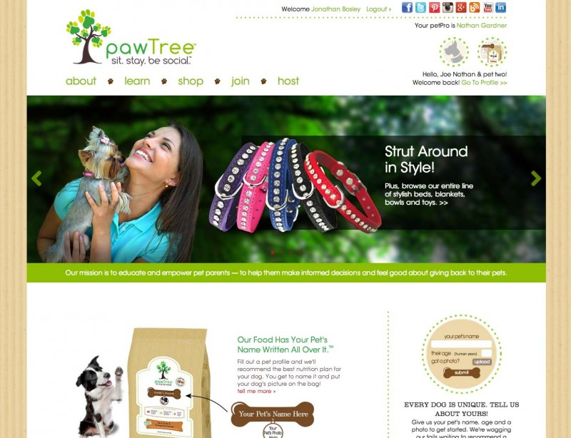 A screenshot of the pawTree website home page