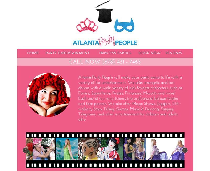 Screenshot of the website developed for Party People's Atlanta location