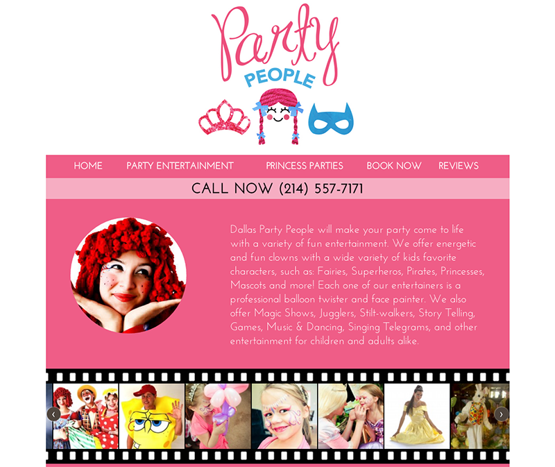 Screenshot of the website for Party People's Dallas location